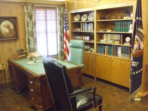 "LBJ desk inside the room the press referred to as ""The Texas White House"""