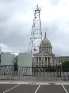 Oklahoma Capitol built on an oil well and another in the parking lot