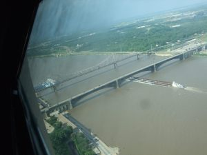 Mississippi River traffic from the top