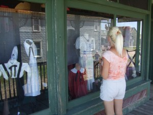 "Rachel ""window shops"" at 1880 Town"