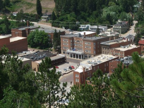Part of downtown Deadwood SD, Lincoln Hotel, center